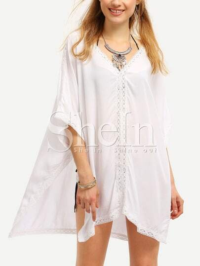 White Deep V-neck Lace Insert Beach Blouse
