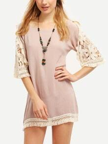 Light Coffee Lace Sleeve Tassel Dress