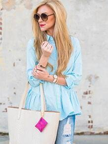 Blue Long Sleeve Lapel Ruffle Blouse