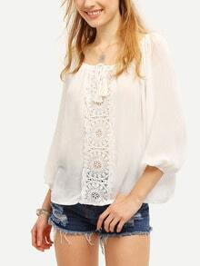 White Tie-neck Lace Loose Blouse