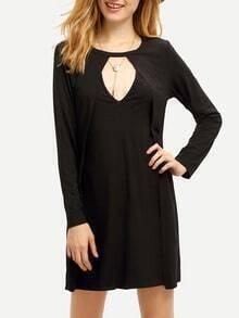 Black Concert Long Sleeve Cut Out Dress