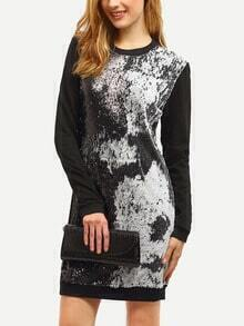 Black Color Block Sequined Sweatshirt Dress