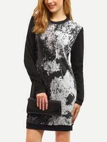 Black Color Block Sequined Sweatshirt Dress