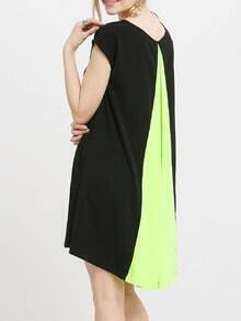 Black Short Sleeve Color Block Back Loose Dress