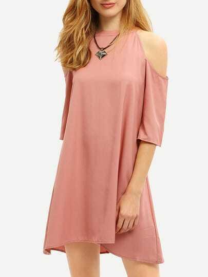 Pink Cold Shoulder Keyhole Back Shift Dress