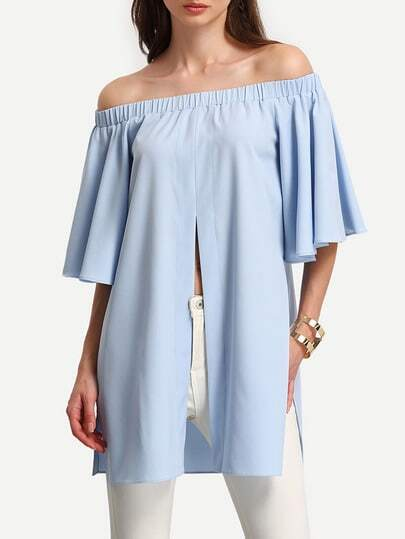 Off Shoulder Split Front Top