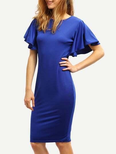 Bat Sleeve Pencil Royal Blue Dress