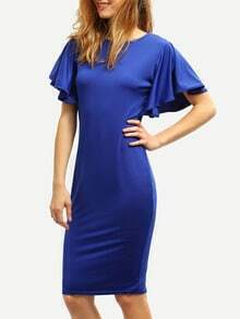 Bat Sleeve Pencil Royal Blue Dress