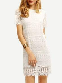 White Crew Neck Lace Dress