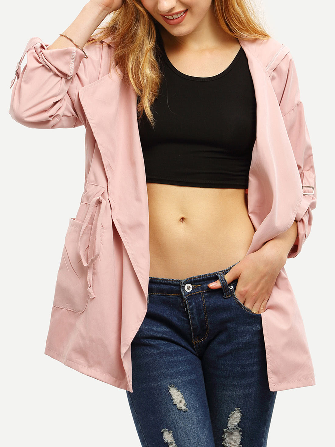 Hooded Drawstring Pockets Coat