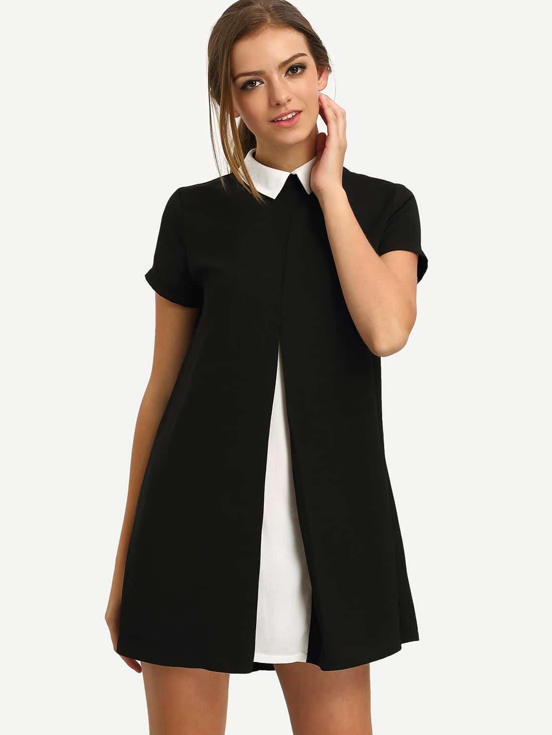 Black White Contrast Collared Spliced Dress dress160408702