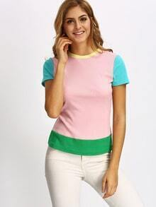 Multiclor Crew Neck Colorblock Slim T-shirt