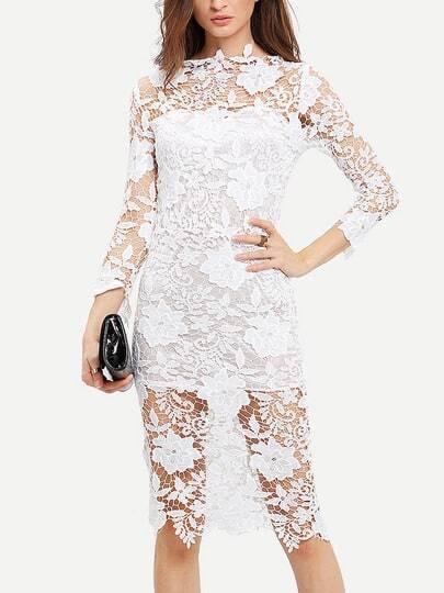 White Floral Crochet Slim Lace Dress