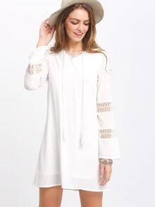 White Hollow Insert Crisscross Front Shift Dress