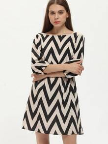 Multicolor V Back Geometric Print Dress