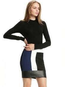 Black Color Block PU Leather Hem Dress