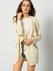 Apricot Long Sleeve Pockets Coat