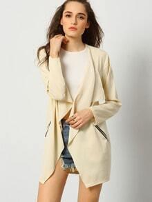 Apricot Long Sleeve Pockets Coat