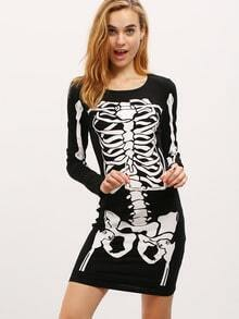 Black Long Sleeve Skeleton Print Dress