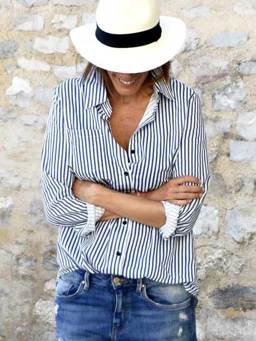 Фото Lapel Vertical Striped Blouse. Купить с доставкой