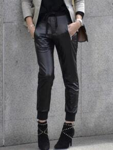 Black Tie Waist PU Leather Zipper Pants