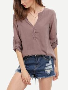 Brown Long Sleeve High Low Blouse