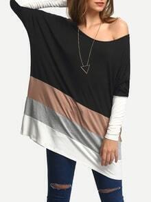 Black Color Block Loose T-Shirt