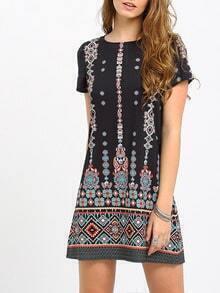 Black Aztec Print Shift Dress