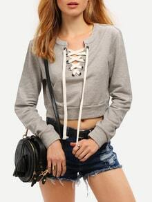 Grey Lace Up Neck Crop Sweatshirt