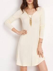 Beige Scoop Neck Pleated T-shirt Dress