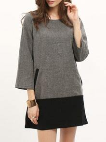 Grey Crew Neck Contrast Hem Dress