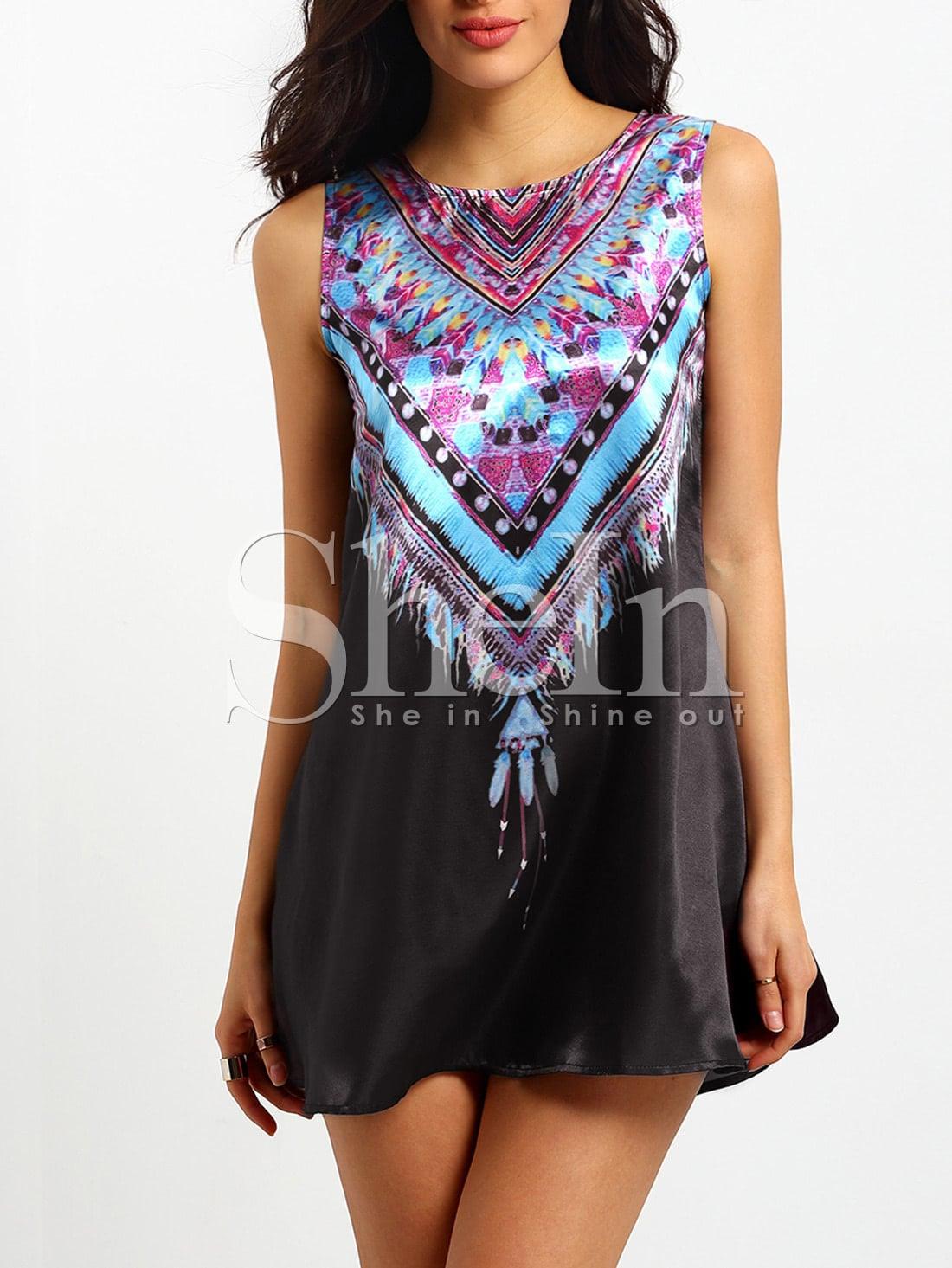 Tribal Print Tradition Shift Black DressTribal Print Tradition Shift Black Dress<br><br>color: Multicolor<br>size: L,XL