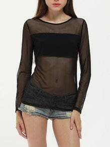 Black Long Sleeve Sheer Blouse