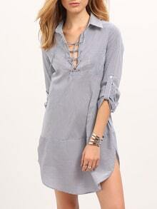 White Blue Lace Up Vertical Striped Blouse