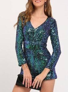 Green V Neck Sequin Jumpsuit