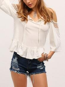 White Open Shoulder Flounce Hem Blouse