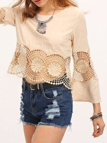 Apricot Round Neck Bell Sleeve Flower Hollow Blouse