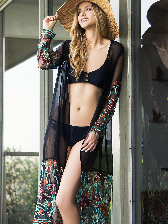 Multicolor Transparent Emboridred Tassel Long KimonoMulticolor Transparent Emboridred Tassel Long Kimono<br><br>color: Multicolor<br>size: L,M,S,XS