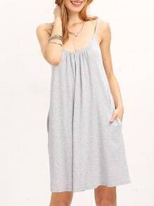 Grey Scoop Neck U Back Pockets Shift Dress