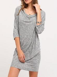 Grey Cowl Neck Asymmetric Dress