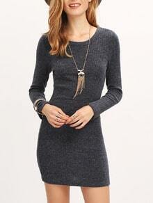 Grey Long Sleeve Bodycon Dress