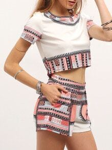 Vintage Print Trim Crop Top With Shorts
