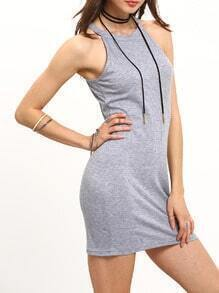 Grey Sleeveless Slim Bodycon Cami Dress