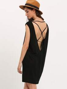 Black One Shoulder Multi-strap cross Back Dress