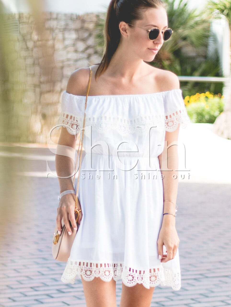 Off the Shoulder Contrast Lace Dress cute off the shoulder lemon dress for women