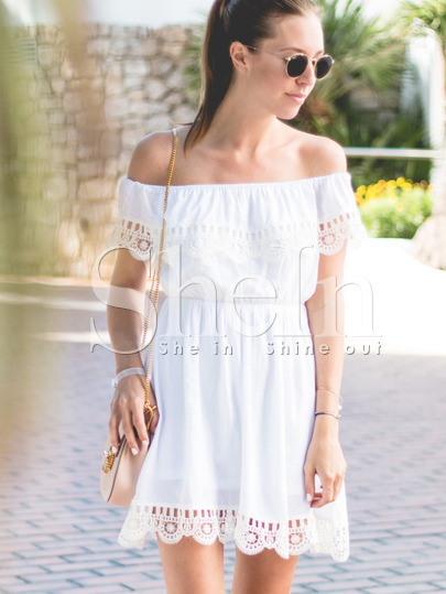 Off the Shoulder Contrast Lace Dress