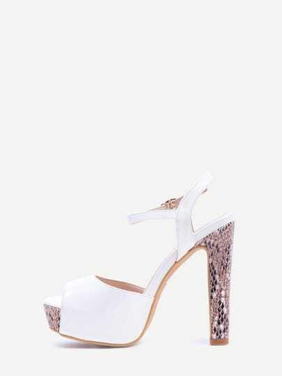 Ivory Ankle Strap Platform Sandals