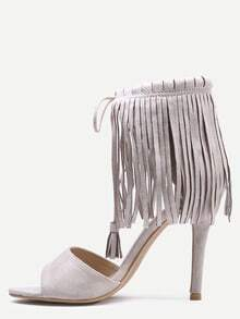 Open Toe Fringe Ankle Cuff Pumps - Apricot