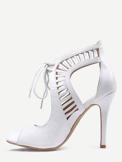 White Laser Cut Lace-Up Peep Toe Heels