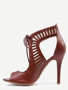 Brown Laser Cut Lace-Up Peep Toe Heels